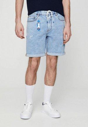 Шорты джинсовые Pull&Bear. Цвет: голубой