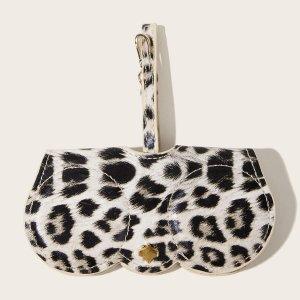 Футляр для очков с леопардовым узором SHEIN. Цвет: многоцветный