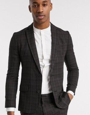 Пиджак в клетку -Коричневый цвет New Look