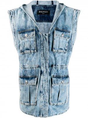 Джинсовая куртка без рукавов Balmain. Цвет: синий