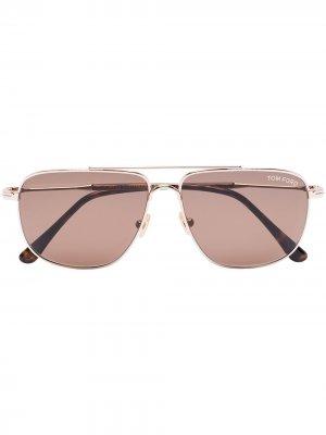 Солнцезащитные очки-авиаторы Len TOM FORD Eyewear. Цвет: коричневый
