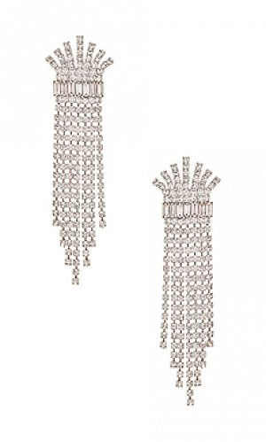 Серьги crystal fringe Elizabeth Cole. Цвет: металлический серебряный