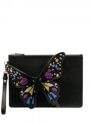 Flossy 3D Butterfly clutch Sophia Webster. Цвет: черный