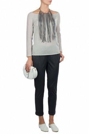 Светло-серый пуловер из кашемирового трикотажа Fabiana Filippi