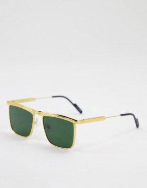 Солнцезащитные очки унисекс в золотистой металлической оправе с прямой верхней планкой и зелеными линзами PK-90-Золотистый Spitfire