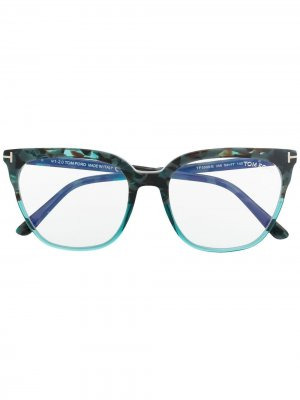 Очки в квадратной оправе со вставками TOM FORD Eyewear. Цвет: синий