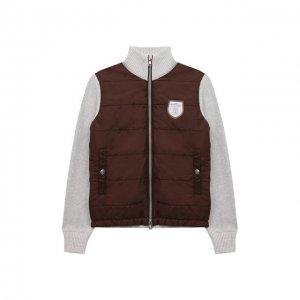 Комбинированная куртка Brunello Cucinelli. Цвет: коричневый