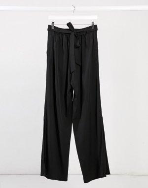 Черные брюки с широкими штанинами и разрезами -Черный Elvi