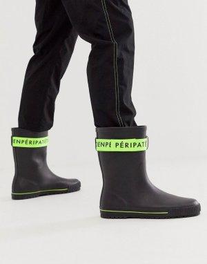 Черные резиновые сапоги с зеленой лентой -Черный ASOS DESIGN