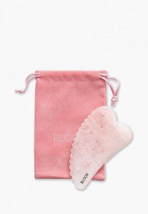 Массажер для лица Bloor скребок гуаша Зубчатое Сердце из натурального розового кварца (цельный камень). Цвет: розовый