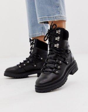Черные кожаные походные ботинки Artistry premium-Черный ASOS DESIGN