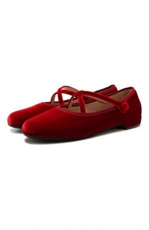 Текстильные балетки Miu. Цвет: красный