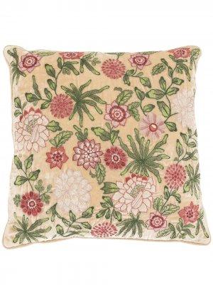 Подушка с цветочной вышивкой Anke Drechsel. Цвет: нейтральные цвета
