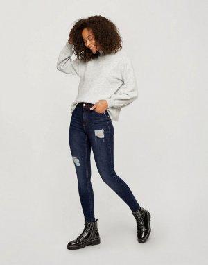 Темно-синие выбеленные джинсы зауженного кроя с высокой талией и рваной отделкой Lizzie Tall-Голубой Miss Selfridge