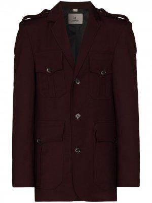 Пиджак в стиле милитари Boramy Viguier. Цвет: красный