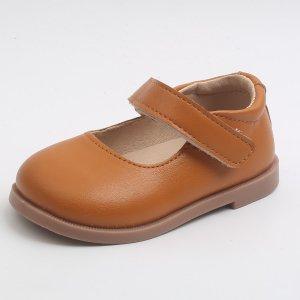 Для девочек Туфли мэри джейн минималистичный SHEIN. Цвет: коричневые