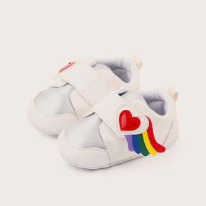 Контрастные кроссовки на липучке для девочек SHEIN. Цвет: белый