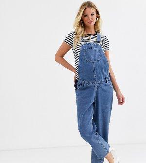 Свободный джинсовый комбинезон с прямыми штанинами -Синий Urban Bliss Maternity