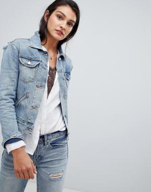 Джинсовая куртка светлого оттенка индиго AllSaints. Цвет: синий
