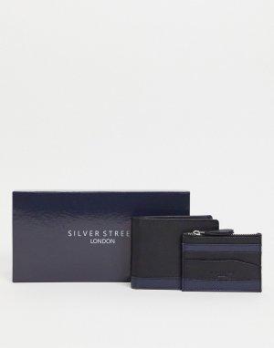 Кожаный кошелек и кредитница -Черный цвет Silver Street