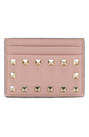 Кожаный футляр для кредитных карт Garavani Rockstud Valentino. Цвет: светло-розовый