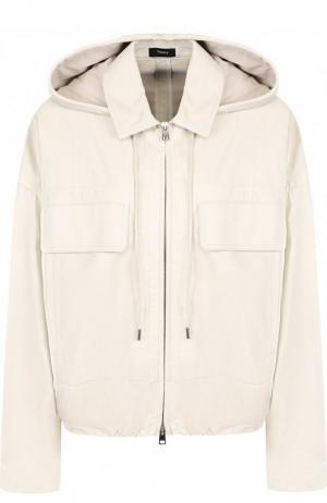 Однотонная кожаная куртка с капюшоном Theory. Цвет: бежевый