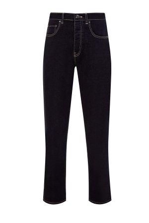 Прямые джинсы из денима-stretch с фурнитурой в виде звезд LORENA ANTONIAZZI. Цвет: черный