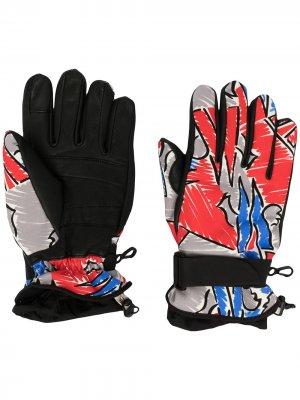 Перчатки с принтом Moncler Grenoble. Цвет: черный