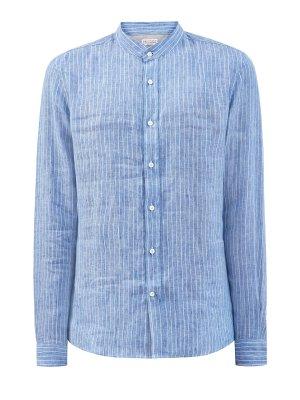 Рубашка ручной работы из льняной ткани в полоску BRUNELLO CUCINELLI. Цвет: голубой