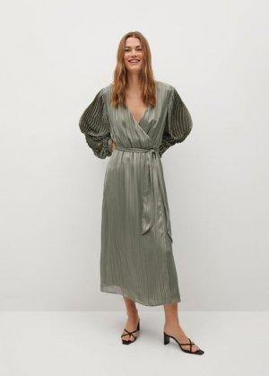 Миди-платье с плиссировкой - Florida-a Mango. Цвет: оливковый