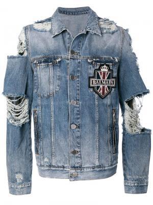 Джинсовая куртка с рваными деталями Balmain. Цвет: синий