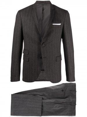 Полосатый костюм с однобортным пиджаком Neil Barrett. Цвет: серый
