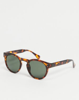 Круглые солнцезащитные очки в коричневой оправе -Коричневый цвет Selected Homme
