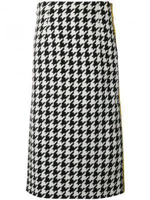 Taped houndstooth midi skirt Off-White. Цвет: черный