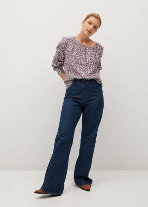 Струящаяся блузка с принтом - Elsa Mango. Цвет: грязно-белый