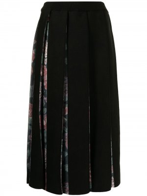 Плиссированная юбка с цветочным принтом Antonio Marras. Цвет: черный