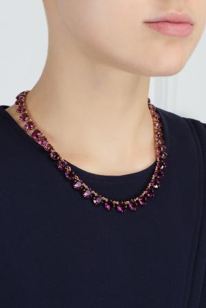 Колье из латуни с кристаллами Ca&Lou. Цвет: фиолетовый