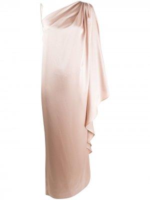 Вечернее платье асимметричного кроя с драпировкой Gianluca Capannolo. Цвет: нейтральные цвета