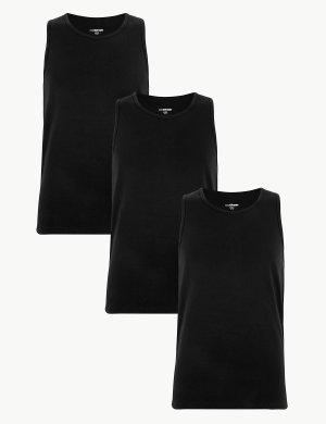Майка мужская с технологией StayNew™ (3 шт) M&S Collection. Цвет: черный