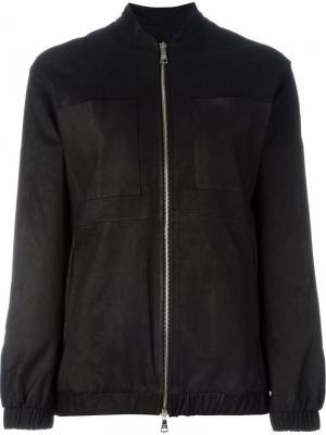 Кожаная куртка-бомбер Giorgio Brato. Цвет: чёрный