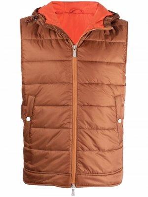 Padded hooded gilet Eleventy. Цвет: коричневый