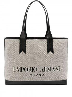 Сумка-тоут с логотипом Emporio Armani. Цвет: нейтральные цвета