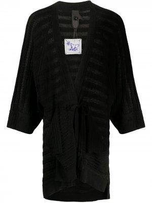 Кардиган-пальто с завязками Bernhard Willhelm. Цвет: черный
