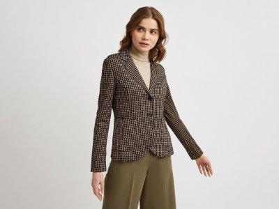 Однобортный пиджак с принтом Benetton. Цвет: коричневый