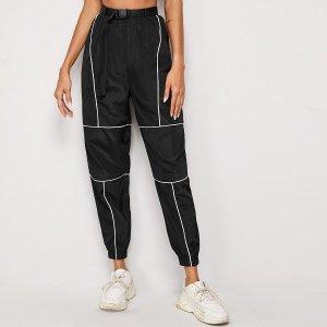 Контрастные брюки ветровка с поясом SHEIN. Цвет: чёрный