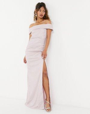 Розовое платье макси с открытыми плечами -Розовый цвет Goddiva