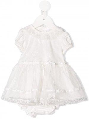 Кружевное платье с оборками Aletta. Цвет: белый