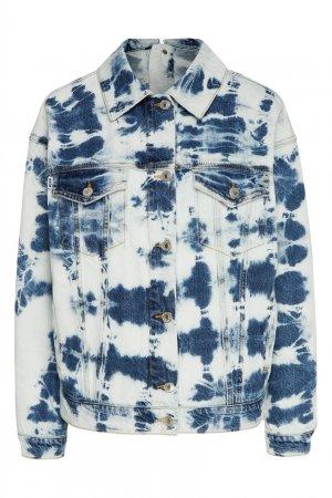 Джинсовая куртка расцветки тай-дай MSGM. Цвет: белый