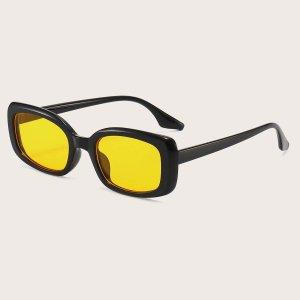 Мужские солнцезащитные очки в геометрической оправе SHEIN. Цвет: жёлтые