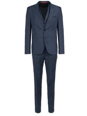 Шерстяной костюм с жилетом Hugo Boss. Цвет: синий